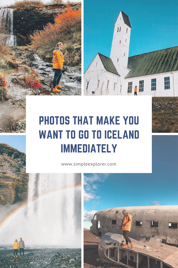 Title photos that make you want to visit Iceland immediately on top of 4 photos of Iceland. Covering most of the photos for the title.
