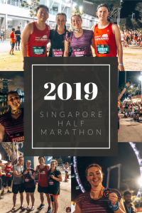 Title: Singapore Sundown Half Marathon 2019 with several people holding medals, a girl with arms up, runners in kit