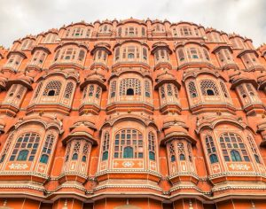 A lower shot of Jaipurs famous building - Hawa Mahal