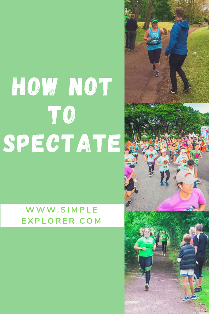 TITLE: HOW NOT TO SPECTATE ON TOP OF 3 PHOTOS OF RUNNERS